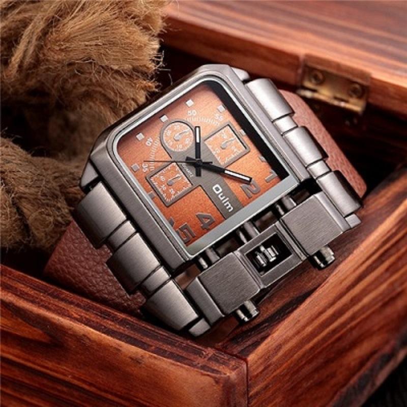 OULM Brand Original Unique Design Square Men Wristwatch brown