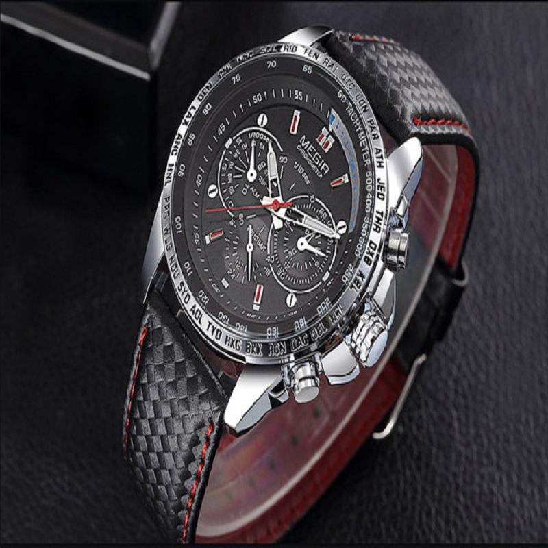 MEGIR Brand Men's Wristwatch Male Leather