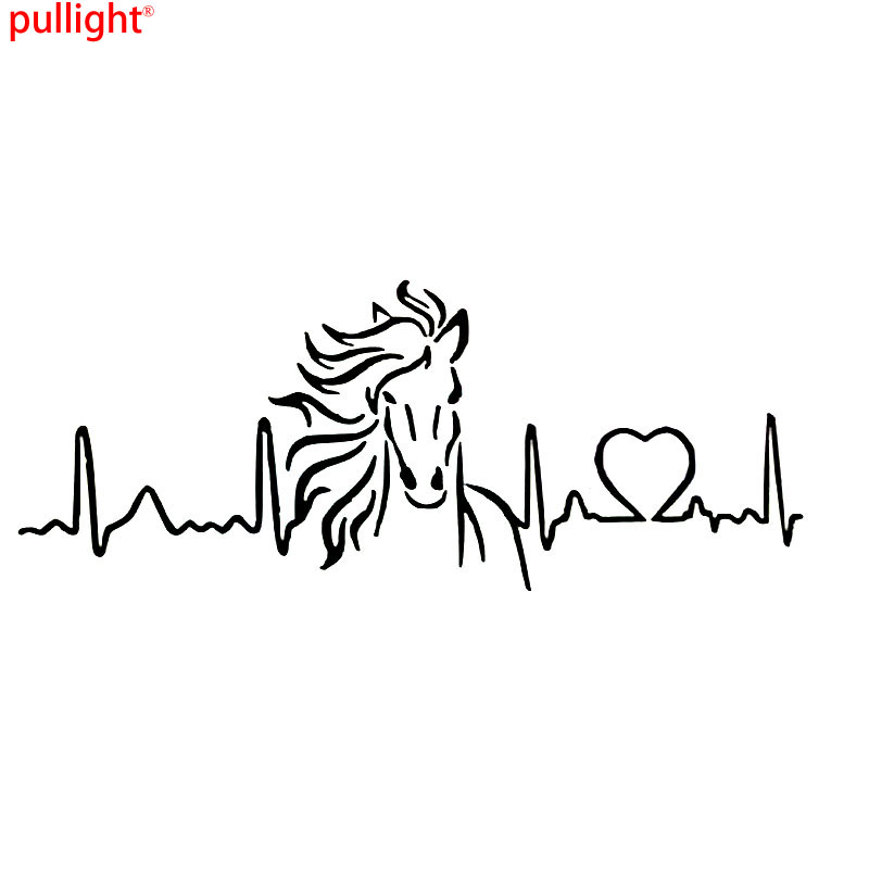 Horse Heartbeat Love Car Sticker Black