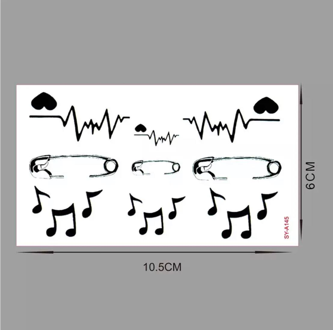 Electrocardiogram Heart Music Water Proof Temporary Tattoo Body Tattoo