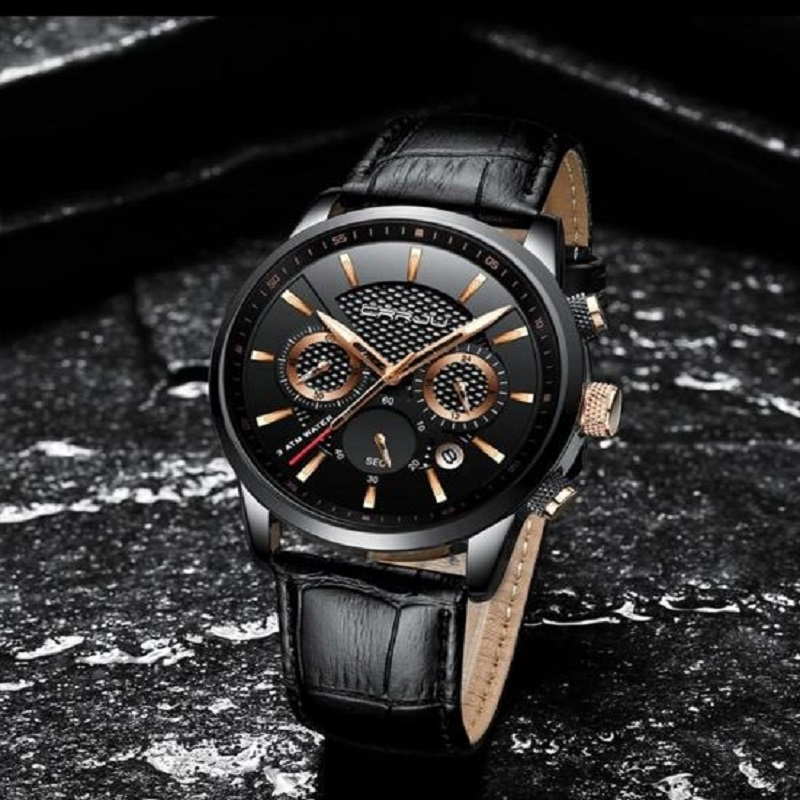 Chronograph Sport Date Leather Band Watche