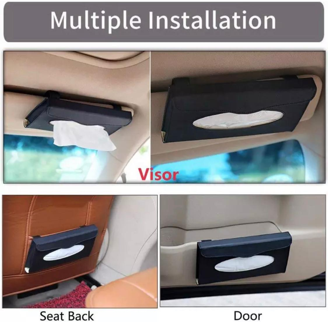 Car Tissue Box Visor Type PU Leather Car Tissue Box Napkin Holder Car Tissue Holder Car Seat Box Black