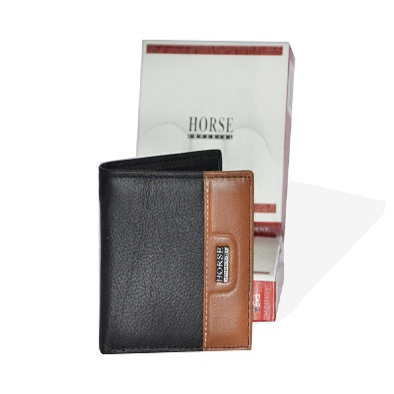 Black and Brown Leather Wallet for Men