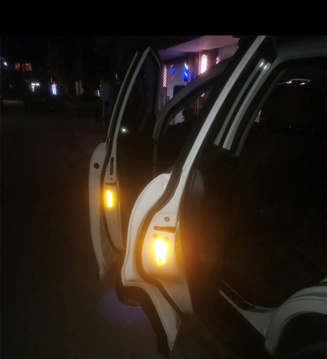 4PCS Super Car Door Open Sticker Reflective Tape Safety Warning Car Styling Reflective Open Sticker Door Open Warning Safety Sticker Auto Decor Yellow Night Lighting Luminous Tape