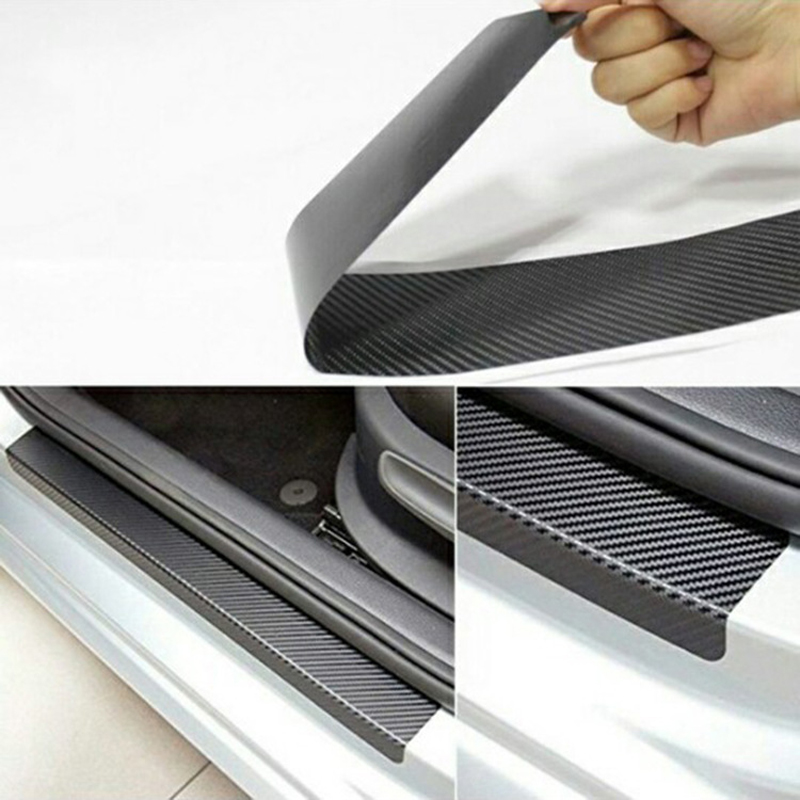 4PCS 60cm x 6.7cm Car Stickers Universal Anti Scratch Carbon Fiber