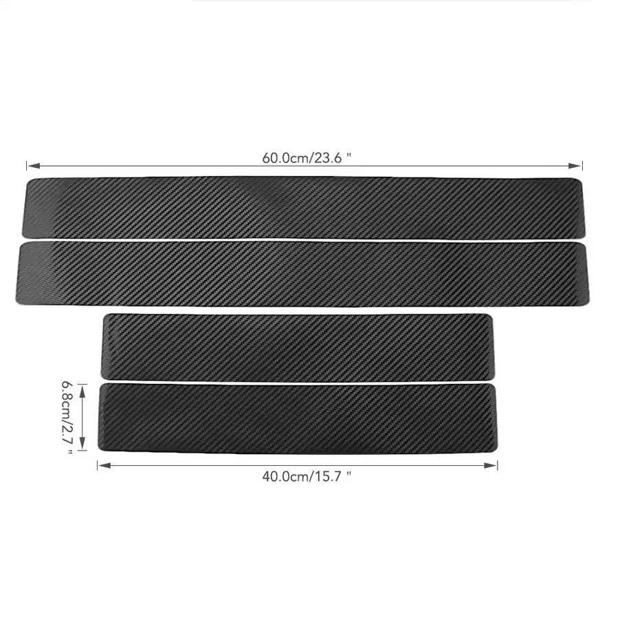 4PCS Car Stickers Universal Anti Scratch Carbon Fiber 60cm x 6.7cm