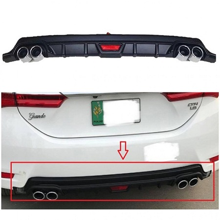 Toyota Corolla Dual Exhaust Black Bumper Diffuser