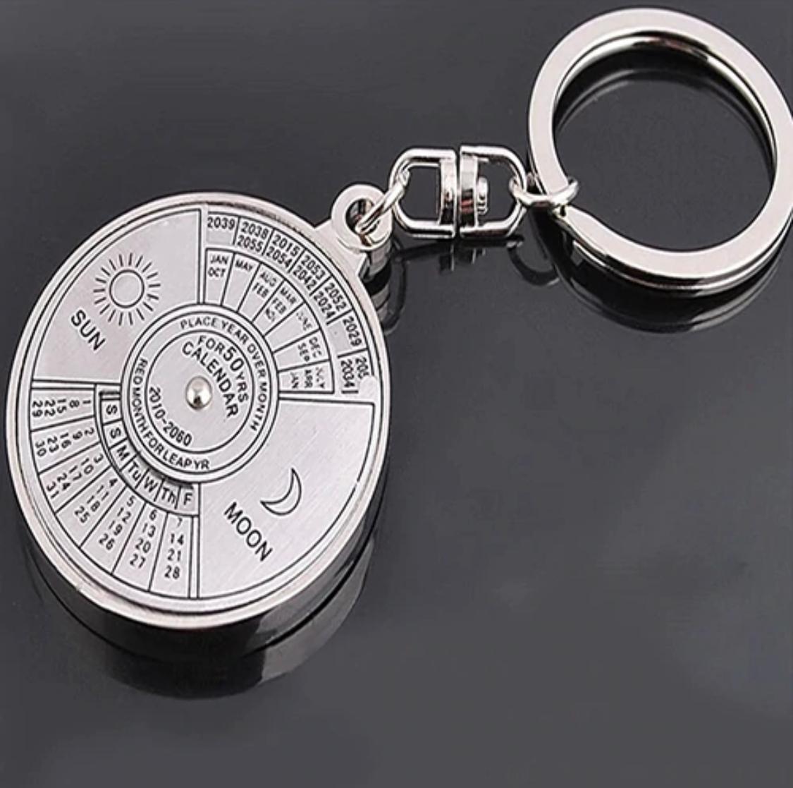 50 Years Perpetual Calendar Key Chain Silver Alloy