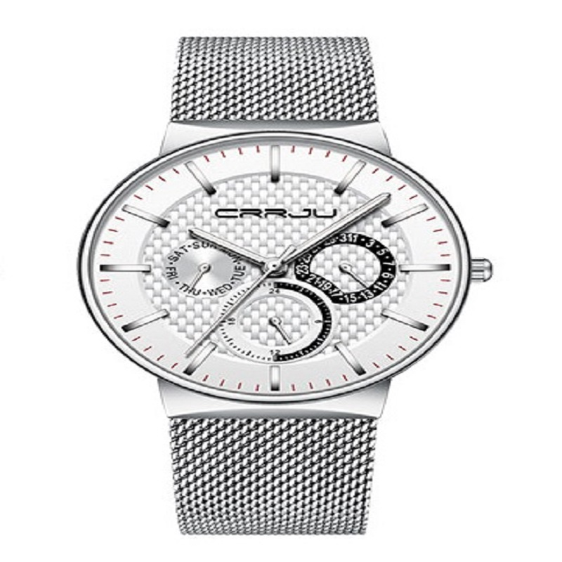 Fashion Business Calendar Watche for Men CRRJU Brand Casual Wristwatch with Stainless Steel