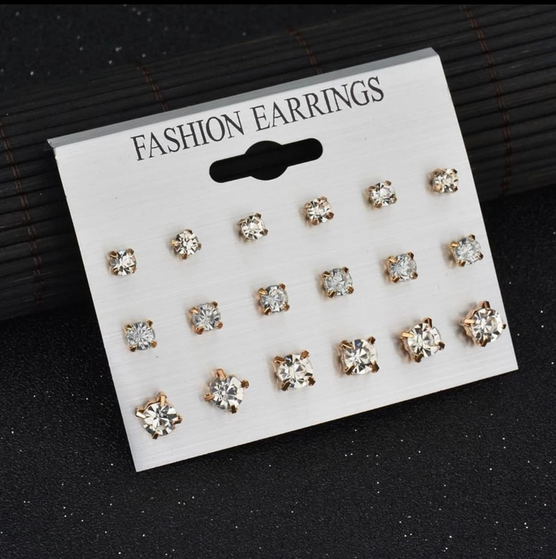 Pack of 9 Pairs Mix Design Square Rhinestone Stud Earrings For Women