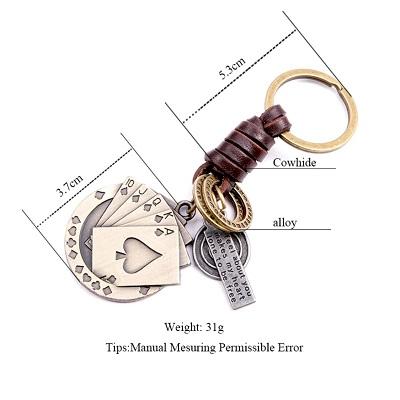 Creative Poker Pendant Suspension Leather Keys Chain