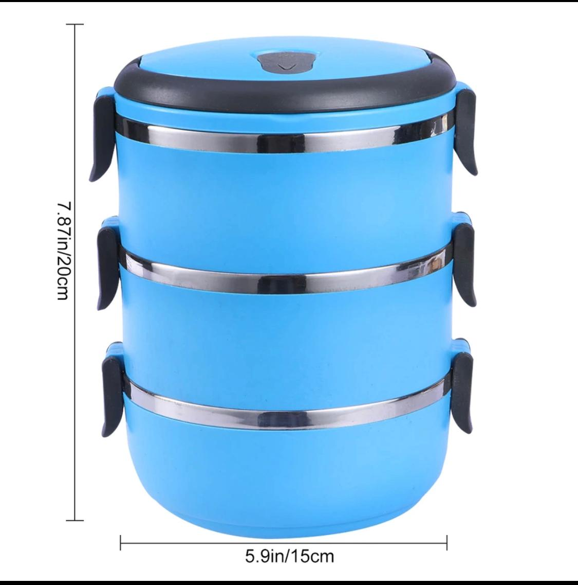 3 Layers Box heat preservation food container with Invisible handle For School Students