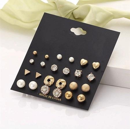 12 Pair/set Fashion Crystal Heart Stud Earring Set