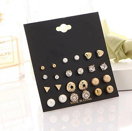 12 Pair/set Fashion Crystal Heart Stud Earring Set