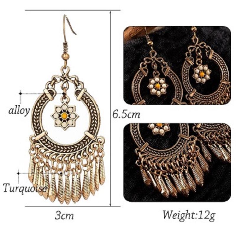 Vintage Ethnic Tassel Hanging Dangle Drop Earrings