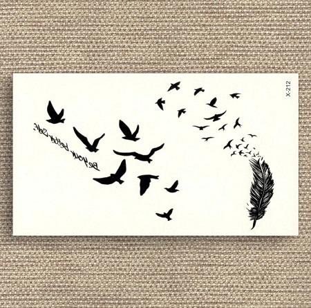 Flying Birds Feather Black Tattoo Stickers Removable Water Transfer Fake Tattoo Water Proof Tattoo Body Tattoo