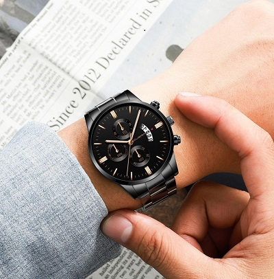 Relogio Masculino Men Fashion Military Stainless Steel Analog Quartz Wrist Watch