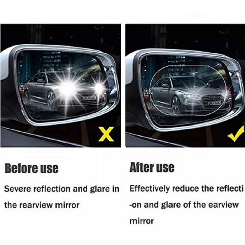 2 Pack Oval Car Rearview Mirror Protective Film Waterproof Rainproof Clear Protective Film