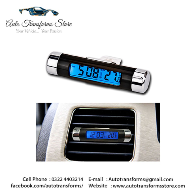 Digital Car Air Vent Car Thermo meter Clock