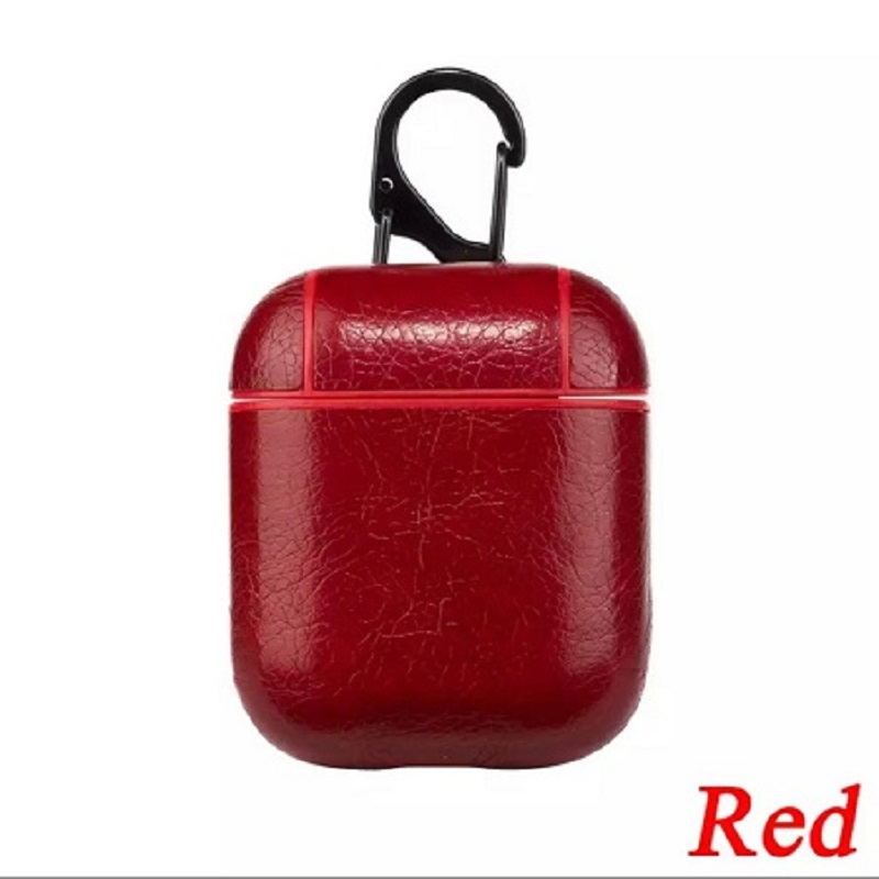 Apple Airpods Leather Protective Shell Case Red