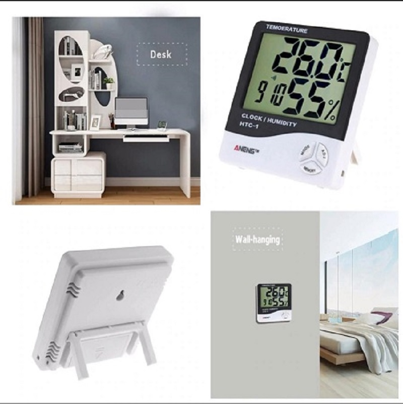 Digital Thermometer Hygrometer Electronic LCD Temperature Humidity Meter Weather Station Indoor Clock
