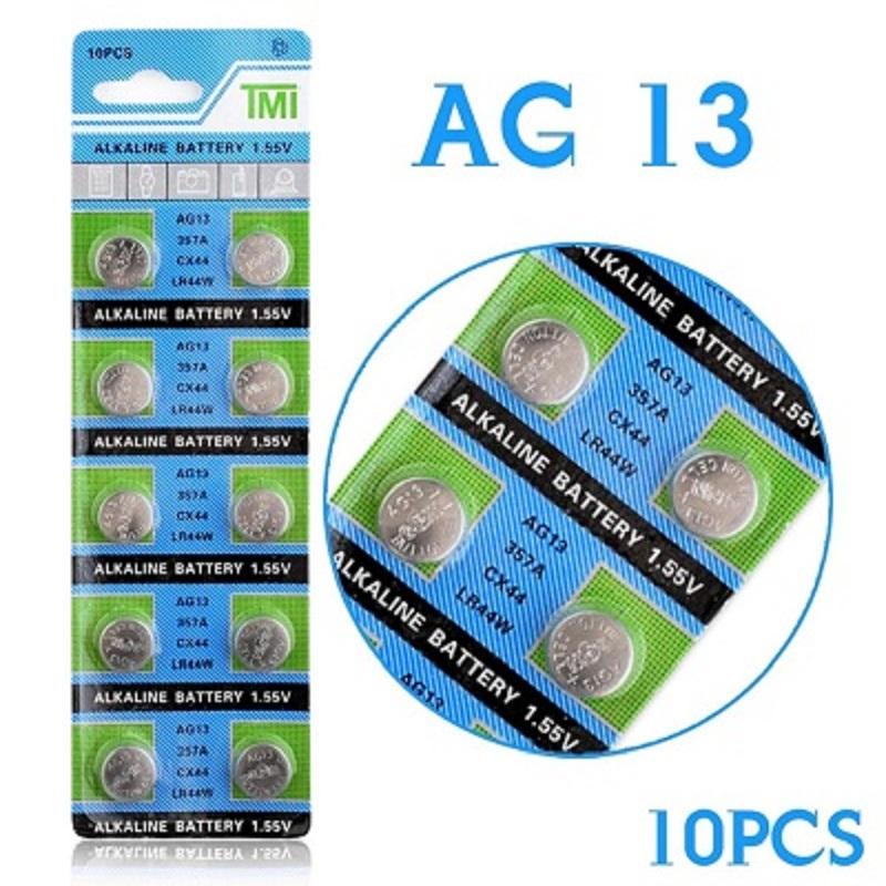10 Pcs Alkaline Coin Button Cell Battery 1.55V AG13 LR44 357A S76E G13