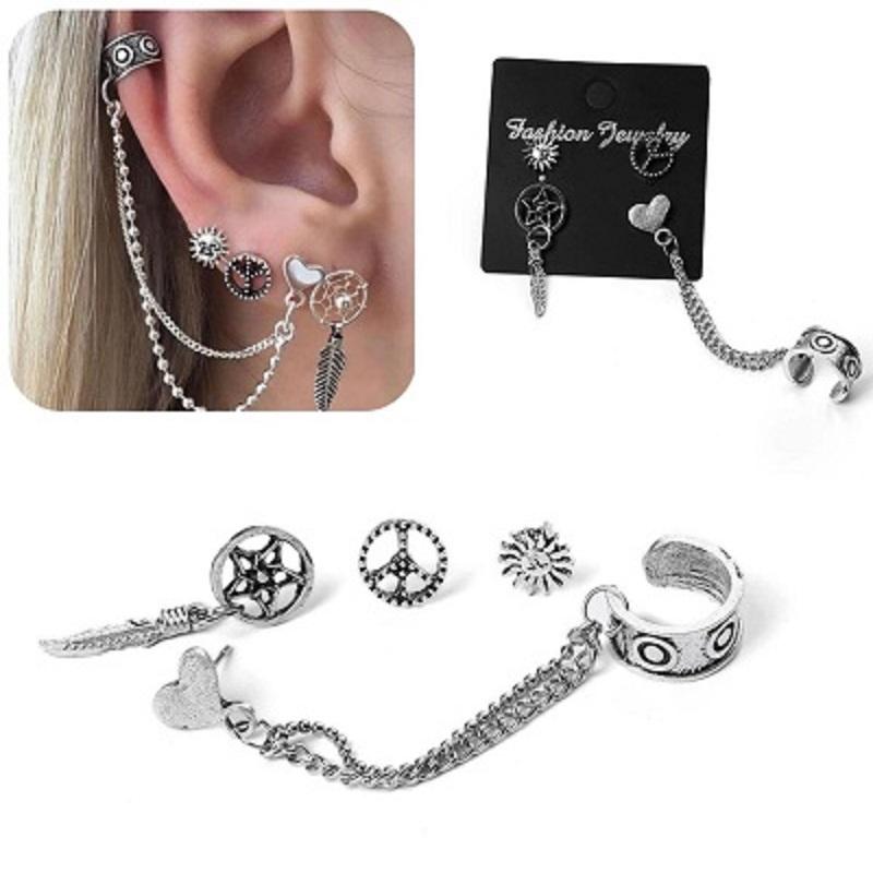 Fashion Women Bohemia silver Heart Leaves Pendant Earrings