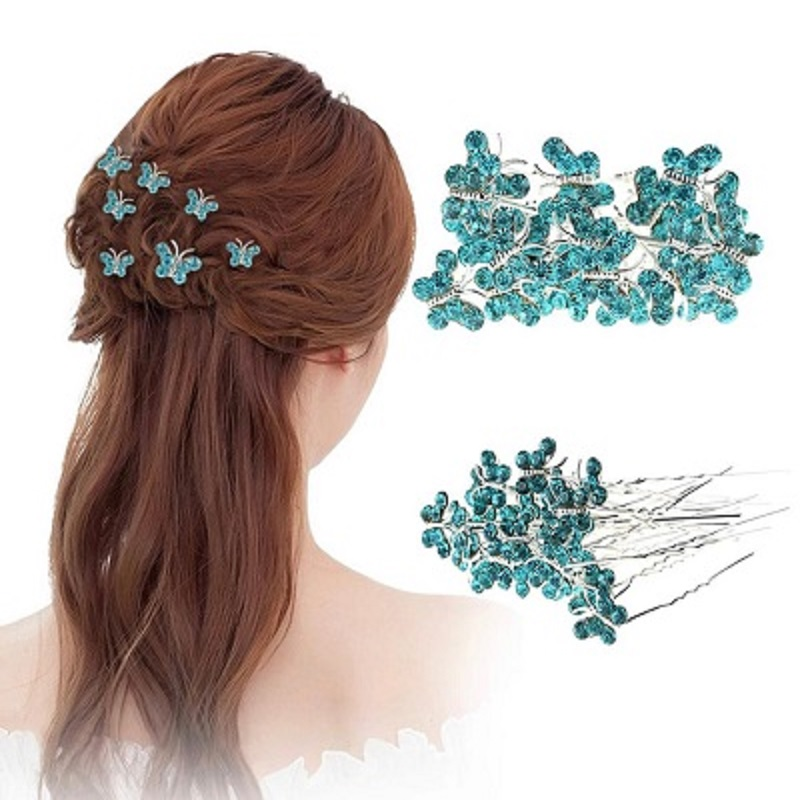 20 pcs Crystal Rhinestone Trinket Butterfly Hair Pin Clips Women