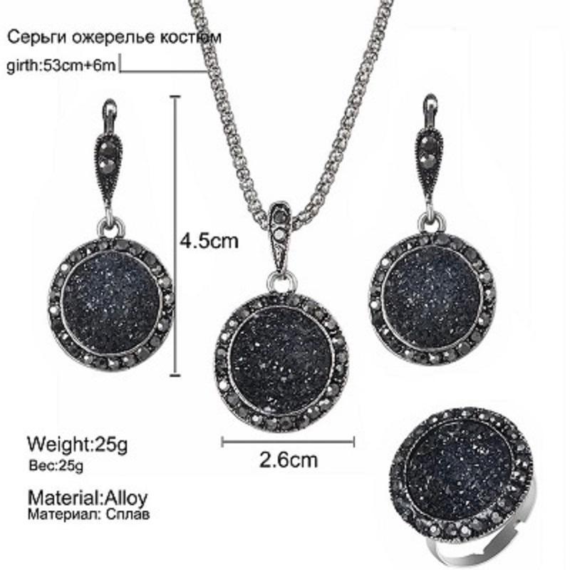4Pcs/set Vintage Crystal Round Necklaces Jewelry Set For Women