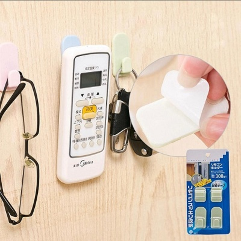 2 pcs set Strong Remote Control Storage Hook Multifunction Wall Adhesive ABS Hooks