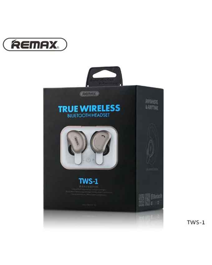 Bluetooth Handsfree Remax TWS-1 Wireless 3D Stereo Earphones with Charging Socket - Black