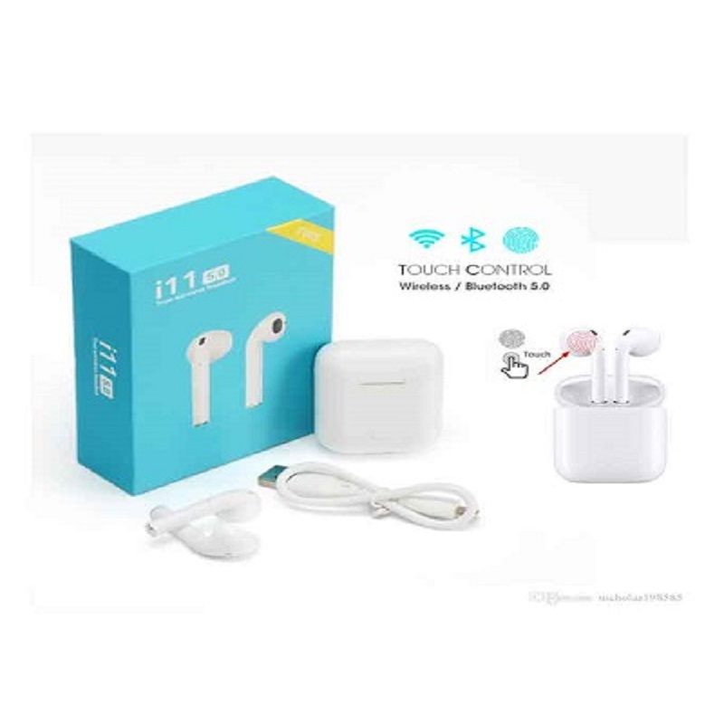 Twin True i11 Wireless Touch Sensor 5.0 Bluetooth Earbuds With Charging Case For iOS And Android - White