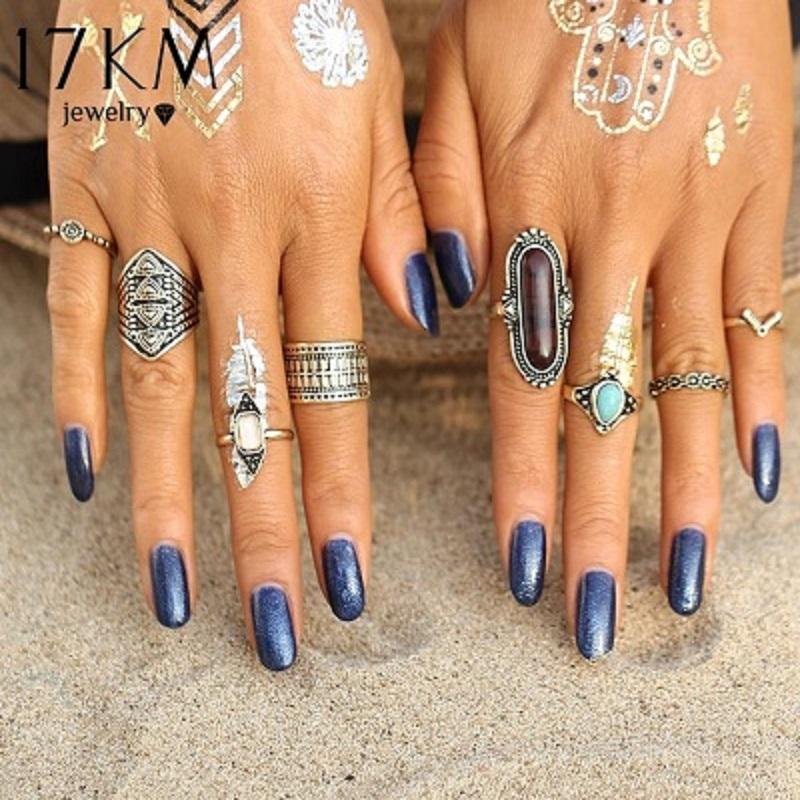 8 pcs Set Boho Jewelry Stone Midi Ring Sets for Women