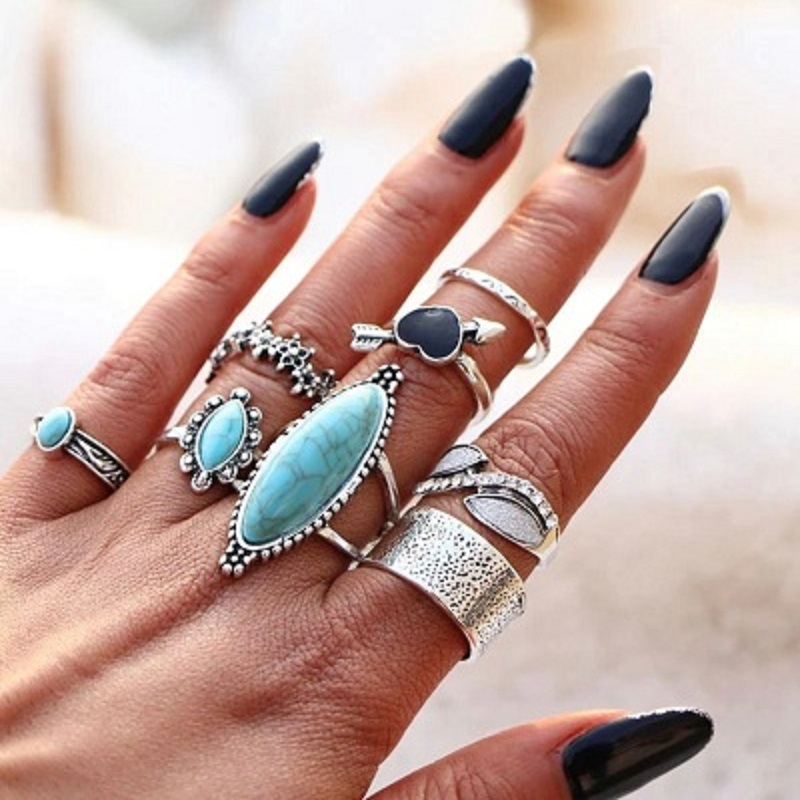 8 Pcs Bohemian Midi Finger Ring Set for Women Retro Big Silver Color