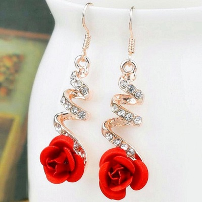 Vintage Red Rose Drop Earrings For Women Dangle Earrings With Crystal Rhinestone