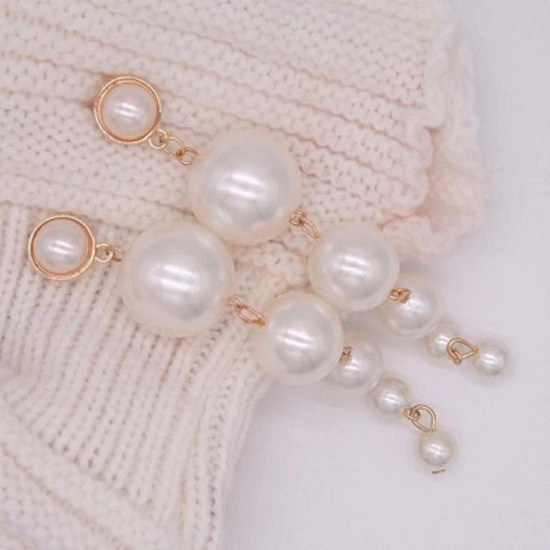 Trendy Elegant Created Big Simulated Pearl Long Earrings