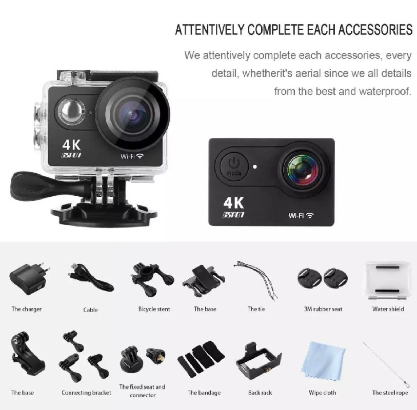 ACTION SPORTS CAMERA WIFI 4K Ultra HD 1080P HD