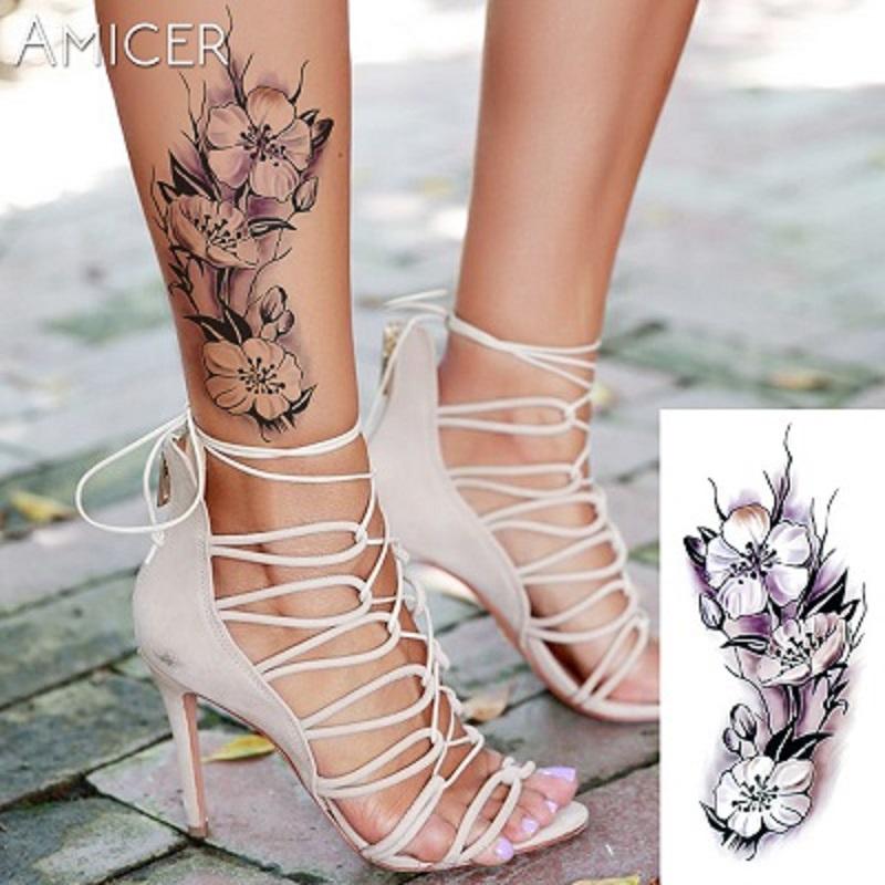 Romantic Dark Rose Flowers Waterproof Temporary Tattoos Body Tattoo