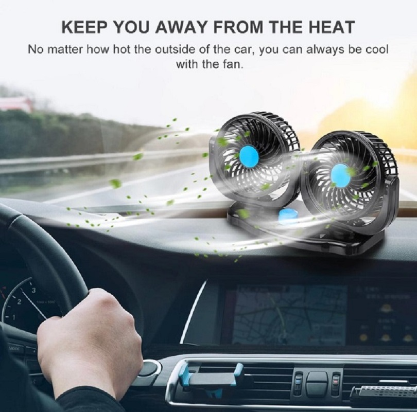 12V 360 Degree Adjustable Car Auto Air Cooling Dual Head Fan
