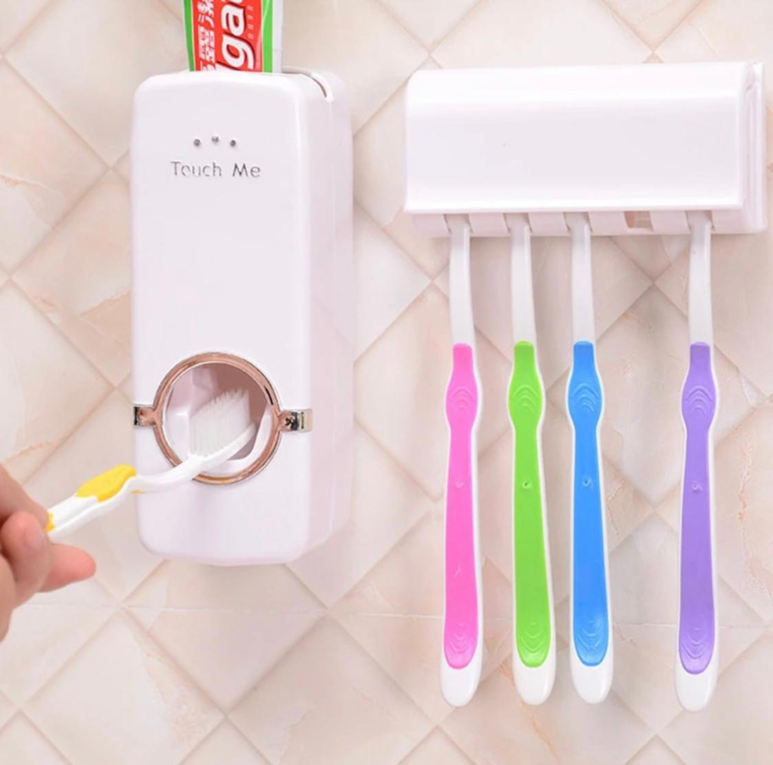 Automatic Toothpaste Dispenser + Five Toothbrush Holder Wall Mount Stand Bathtub Gear