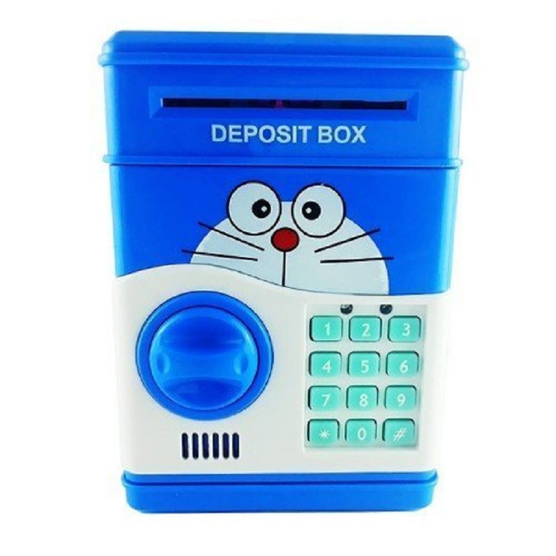 ATM Toy Money Deposit Box With Electronic Lock Blue For Kids