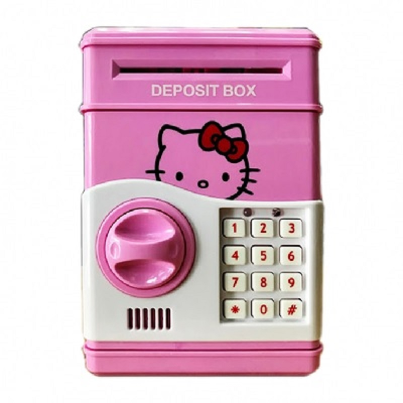 ATM Toy Money Deposit Box With Electronic Lock Hello Kitty For Kids
