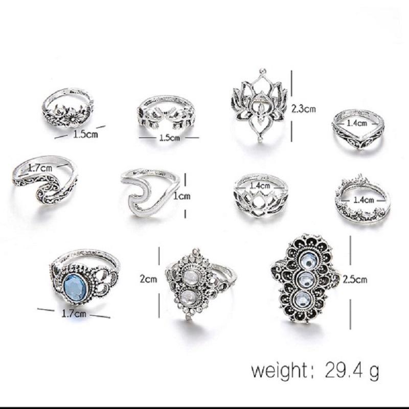 11 Pcs Bohemian Beach Retro Elephant Hollow Lotus Wave Crystal Ring Set