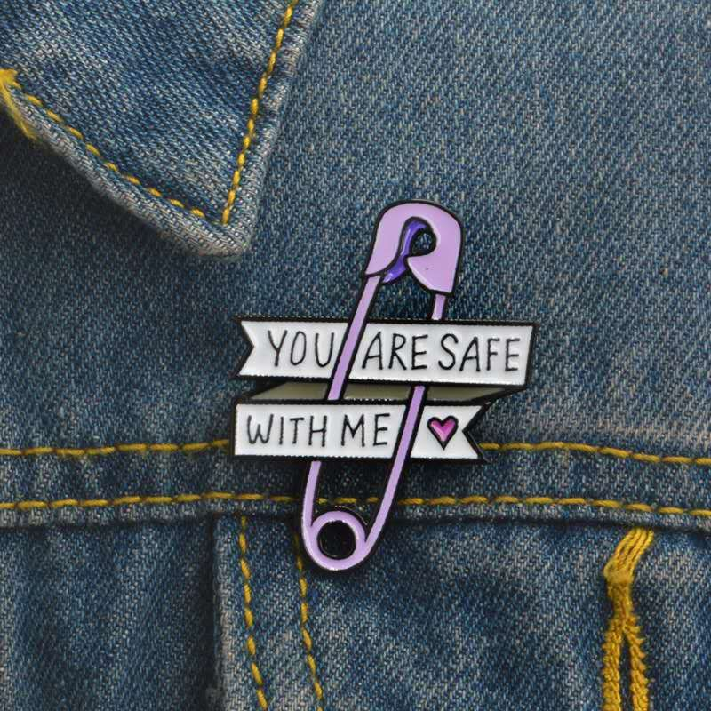 Creative Brooches Safety Pin Style You Are Safe With Me