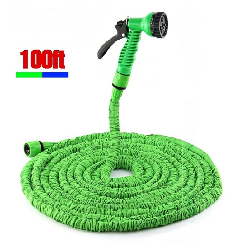 Flexible Expanding Water Hose Tube Spray Nozzle Water Gun Kit 100 FT