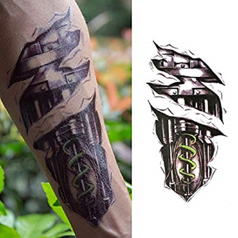 3D Modern Halloween Design Temporary Tattoo