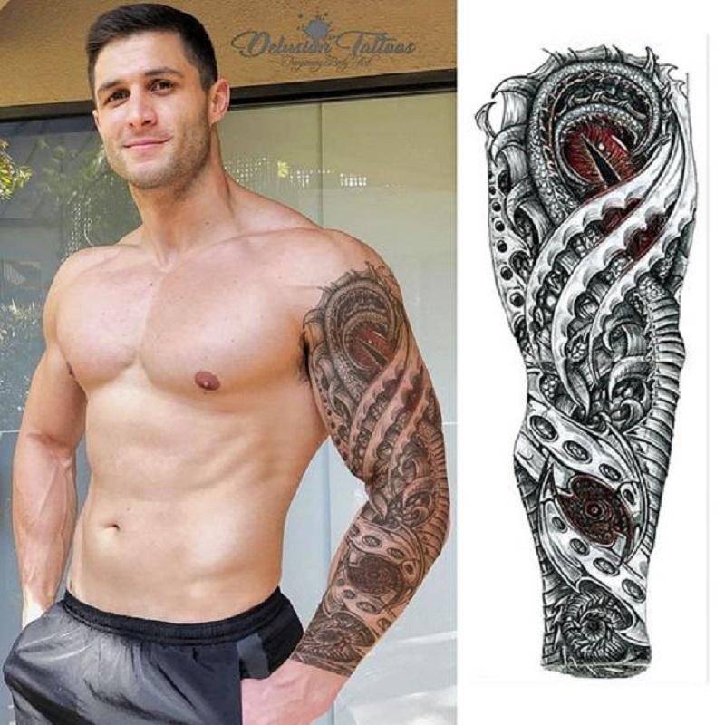 Full Arm Temporary Tattoo Dra-gon Eyes