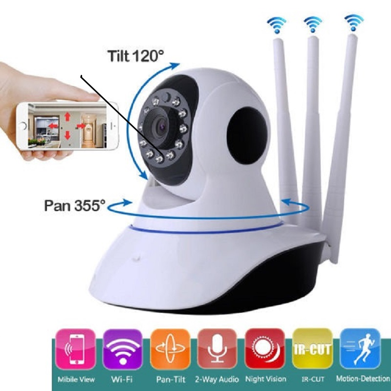 Ip Wireless WiFi Three Antenna Security Camera
