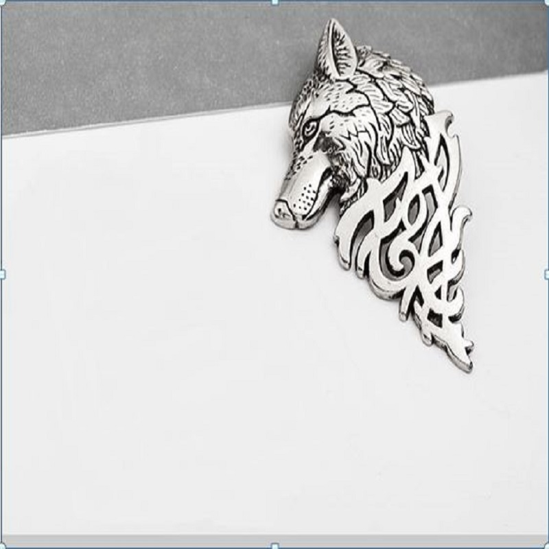 Vintage Men Lapel Wolf Brooch Pin Silver
