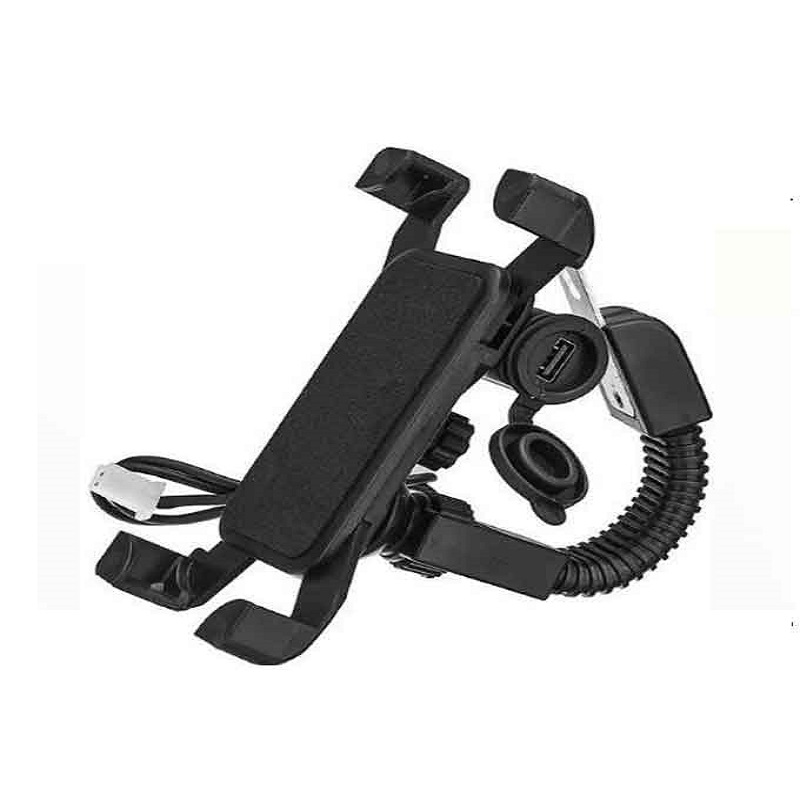 Universal Mobile Bike Holder With Charger - Black
